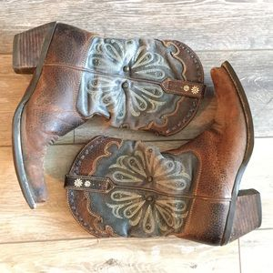 Ariat Leather Western Cowboy Boots Distressed 7.5